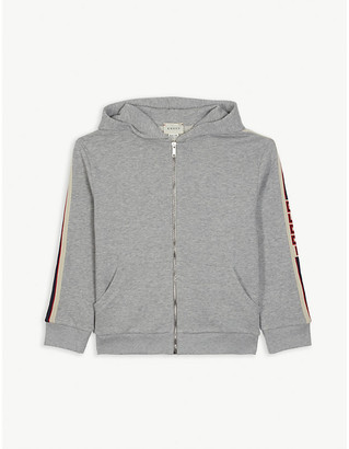 Gucci Zip through logo tape hoodie 4-12 years