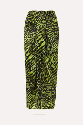Ganni Tie-front Tiger-print Silk-blend Satin Midi Skirt - Green