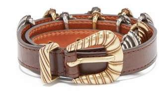 Etro Buckle Embellished Leather Belt - Womens - Brown