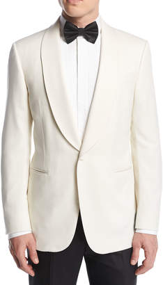 Ermenegildo Zegna Satin-Collar Dinner Jacket, White