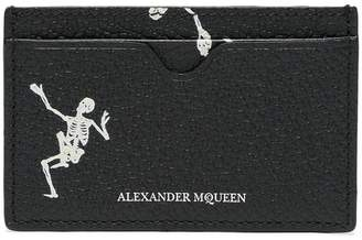 Alexander McQueen black and white skeleton leather card holder