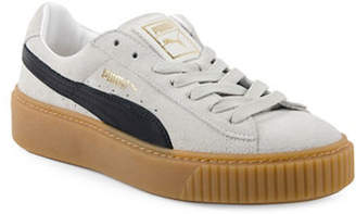 Puma Women's Basket Platform Suede Low Top Sneakers