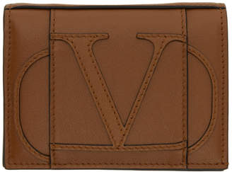 Valentino Brown Garavani Small VLogo Bifold Wallet