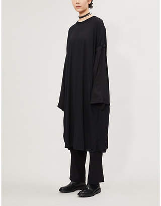 Y's Ys Round-neck wool and woven midi dress