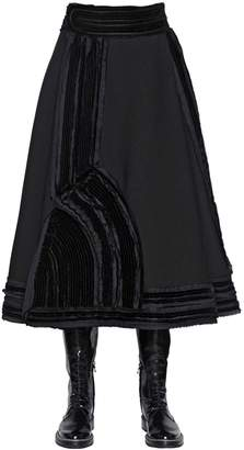 Lanvin Stretch Washed Crepe Midi Skirt