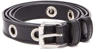 Maison Margiela Eyelet Leather Belt - Mens - Black