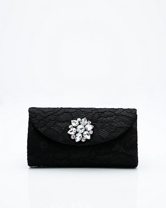 Le Château Brooch Embellished Lace Flapover Clutch