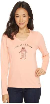 Life is Good Ice Daisy Penguin Long Sleeve Crusher Vee Women's Long Sleeve Pullover
