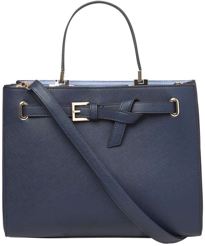 **Lily & Franc Navy Knot Belted Tote Bag