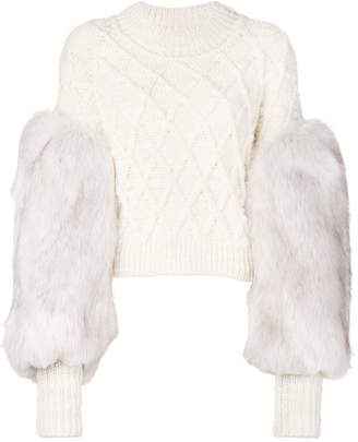 Philosophy di Lorenzo Serafini faux fur sleeved jumper