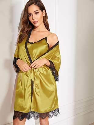 Shein Floral Lace Satin Cami Dress With Robe