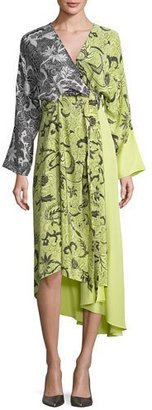 Diane von Furstenberg Colorblock Floral-Print Silk Kimono Dress, Yellow $498 thestylecure.com