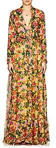 Saloni Women's Alexia Floral Silk Maxi Dress - Yellow