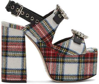 Miu Miu Multicolor Tartan Platform Sandals