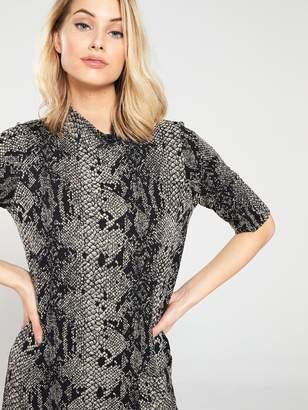 Warehouse Snake Print Pocket Jersey Dress - Brown