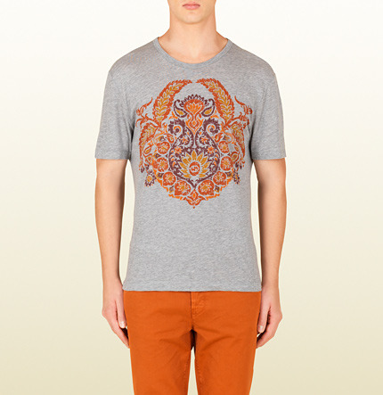 Gucci Cotton Jersey T-Shirt With Paisley Print
