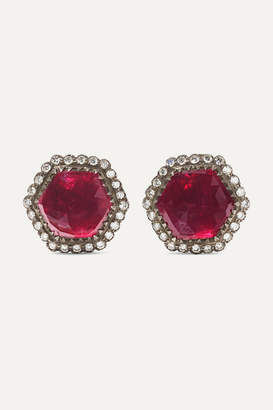 Amrapali 18-karat Gold, Sterling Silver, Ruby And Diamond Earrings