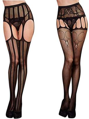 TAROMAING Womens Fishnet Thigh-High Stockings Tights Suspender Pantyhose Socks 2 Pack