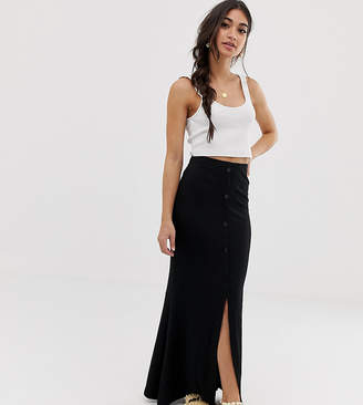 b649413bc038db Asos DESIGN Petite maxi skirt with button front and split detail