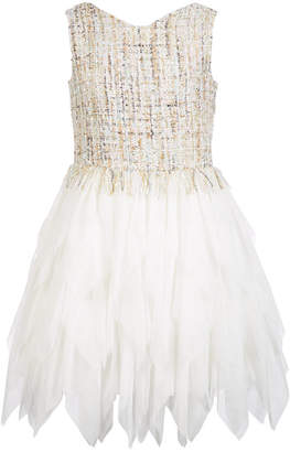 Nanette Lepore Big Girls Tweed Tulle Fit & Flare Dress