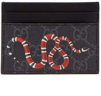 Gucci GG Supreme snake-print canvas cardholder