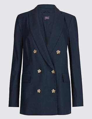 Marks and Spencer Linen Blend Double Breasted Blazer