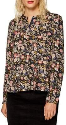 Esprit Floral-Print Long-Sleeve Blouse
