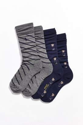 Polo Ralph Lauren Allover Preppy Bear Crew Sock 2-Pack