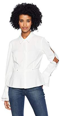 T Tahari Women's Lucian Stretch Crepe Button Down Blouse