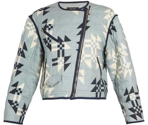 Lazel geometric-print cropped cotton jacket