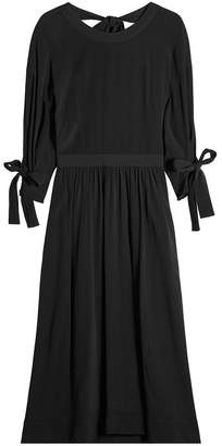 Rosetta Getty Midi Dress with Knotted Sleeves and Open Back
