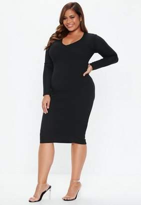 Missguided Plus Size Black V Neck Ribbed Midi Dress