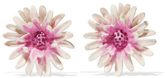 Etro Gold-tone, Enamel And Crystal Clip Earrings - Pink
