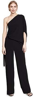 Halston Women's Asymmetrical Sleeve Wide Leg Jumpsuit with Tie