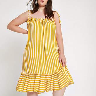 River Island Plus yellow stripe pom pom beach dress