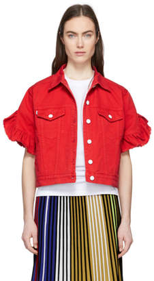 MSGM Red Cropped Sleeve Denim Jacket