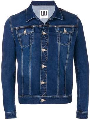 Les Hommes Urban denim panelled shirt jacket