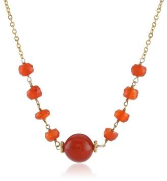 Gold-Plated Sterling Silver Linked Carnelian Rondelles and Red Agate Pendant Necklace