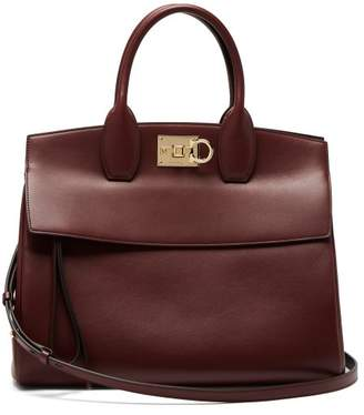 Salvatore Ferragamo Studio Leather Tote - Womens - Burgundy