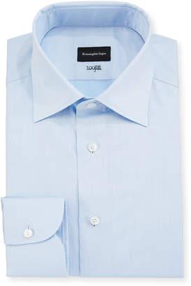Ermenegildo Zegna Men's 100Fili Cento Solid Poplin Dress Shirt, Blue