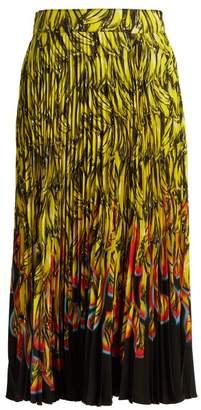 Prada - Banana And Flame Print Pleated Midi Skirt - Womens - Yellow Print