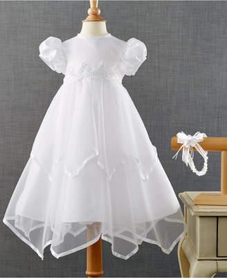 Ralph Lauren Madison Baby Girls Headband & Handkerchief-Hem Christening Dress Set