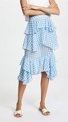 For Love & Lemons Dorothy Ruffle Midi Skirt
