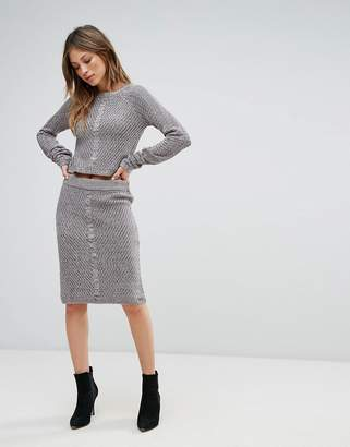 Bellfield Sanna Rib and Cable Mix Bodycon Skirt