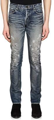Saint Laurent Men's Paint-Splatter Slim Jeans - Lt. Blue