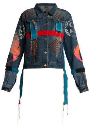 Noki - Hand Painted Denim Jacket - Womens - Denim Multi
