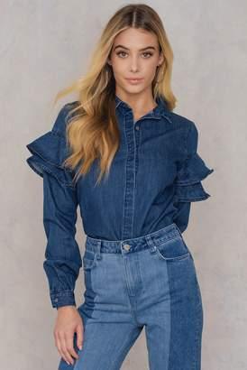 Qontrast X Na Kd Frill Sleeve Denim Shirt Dark Blue