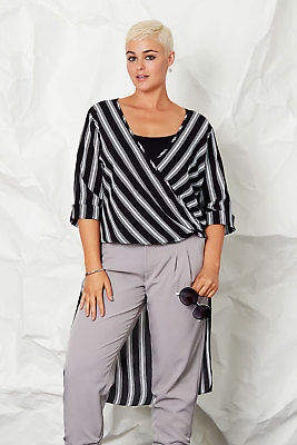 NEW bird by design Womens Blouses Tail Cross Over Blouse Stripe