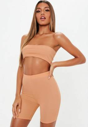 Missguided Camel Bandeau Crop Top And Cycling Shorts Co-Ord