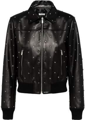 Miu Miu crystal embellished biker jacket